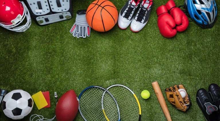 sports equipment - balls, rackets, bat, glove and more