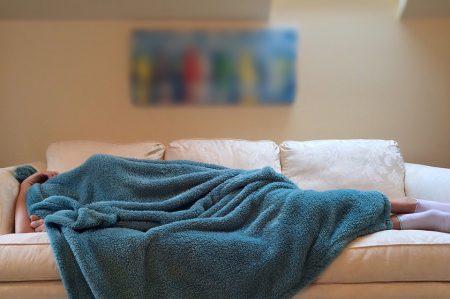 person sleeping away pain