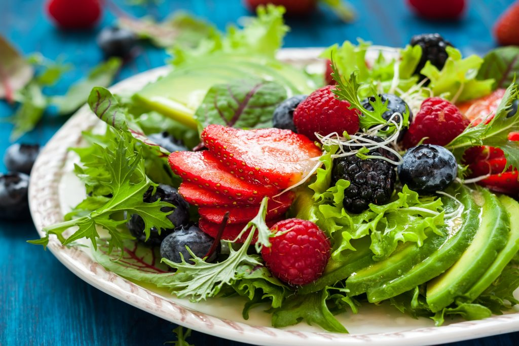 salad with fruit on top