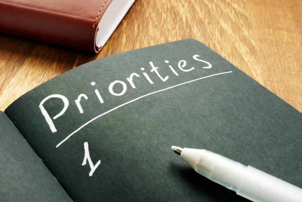Priorities list in the black notepad.