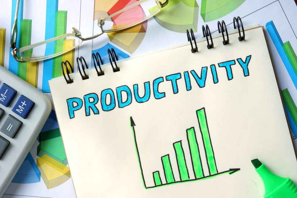 Productivity chart on Notepad on the table