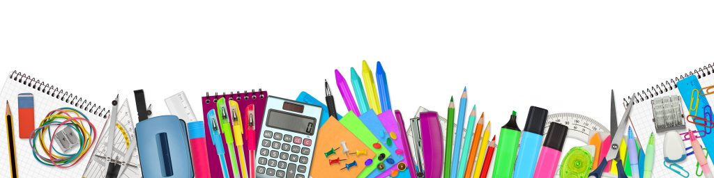 school and office supplies: markers, note pads, calculator and more