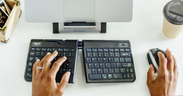 employee at ergonomic workstation