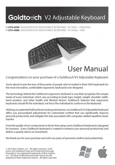 Goldtouch V2 Adjustable Keyboard User Manual