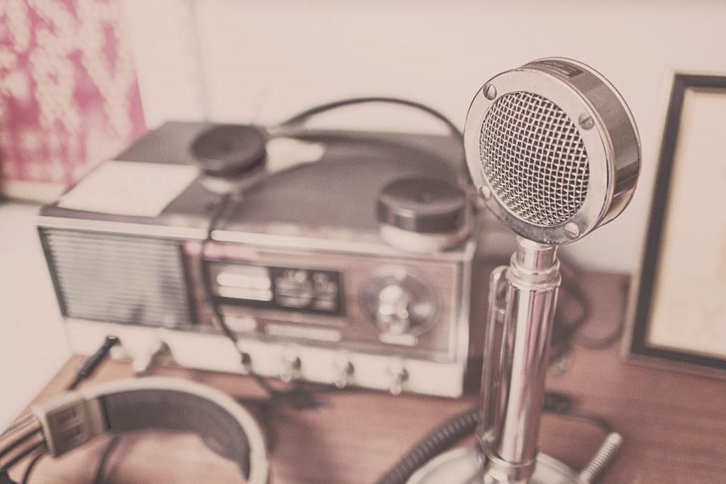 old style radio, microphone and head set