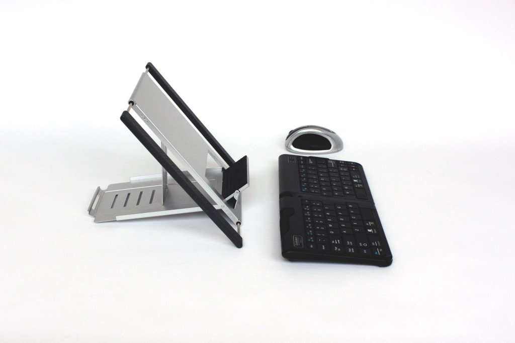 tablet stand, ergonomic keyboard and mouse