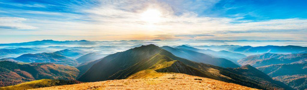 sun rise over mountains