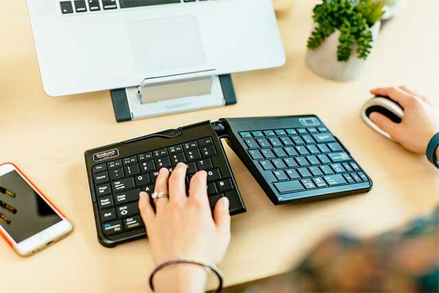 ergonomic keyboard in use