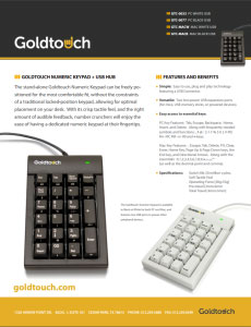 Numeric Keypads Data Sheet