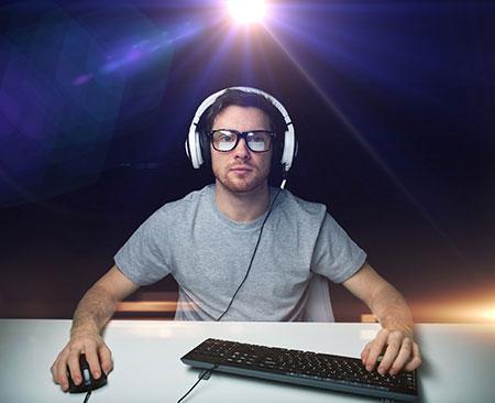 gamer at desk