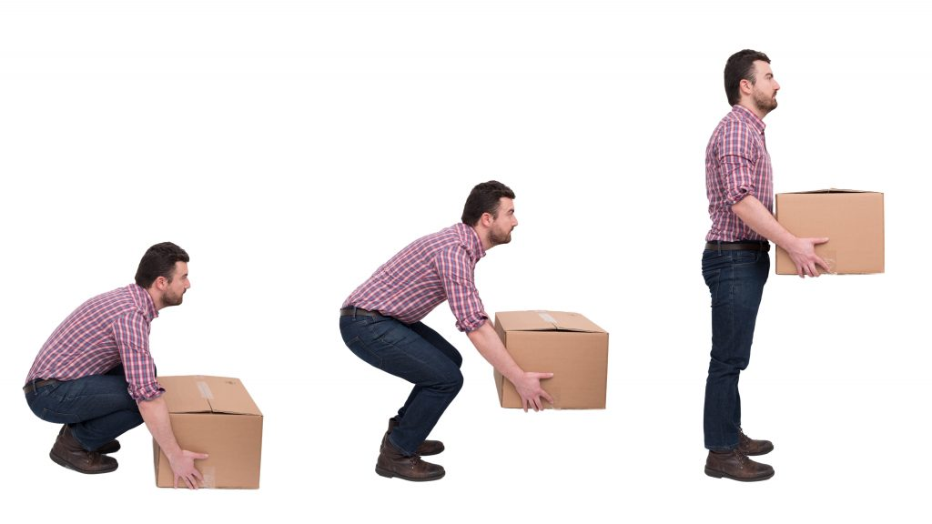 photo giving example of correctly lifting boxes
