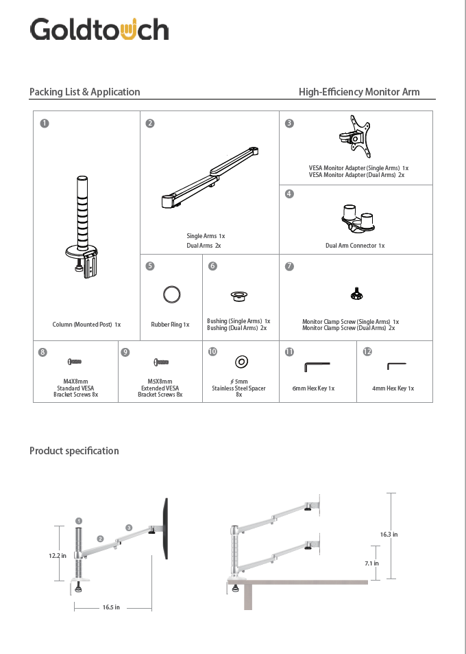 Goldtouch EasyLift Monitor Arms Manual