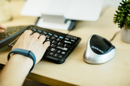 Goldtouch ergonomic mouse. Goldtouch ergonomic keyboard. Goldtouch ergonomic laptop/tablet stand. Ergonomic Workstation. Ergonomic Workstation.