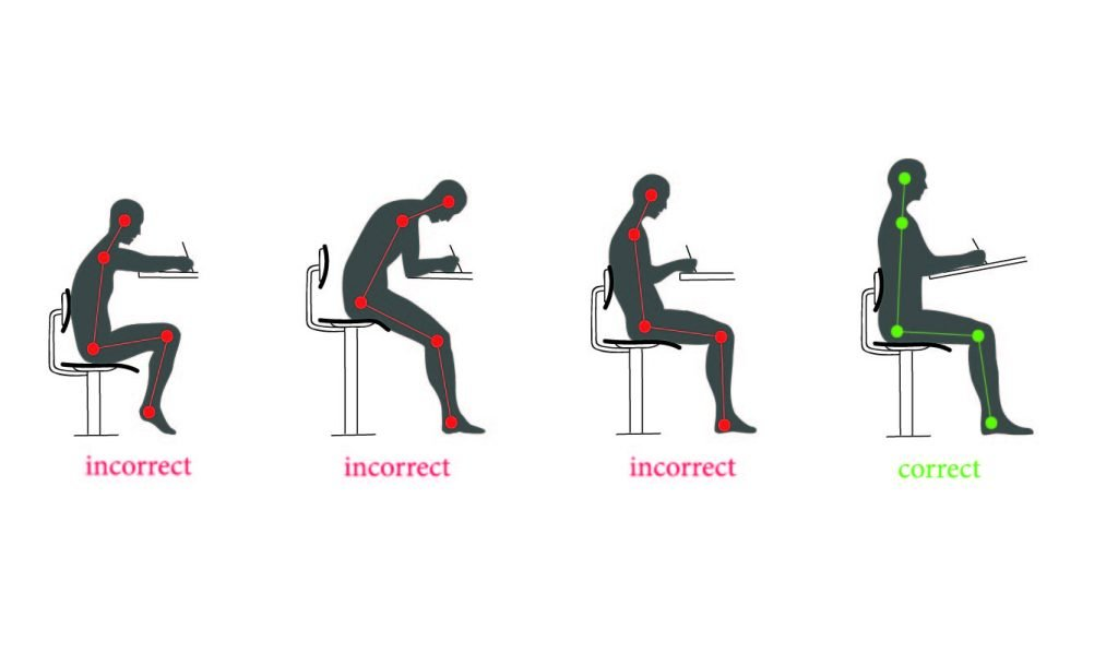 illustration of 3 poor seating postures and 1 correct seating posture