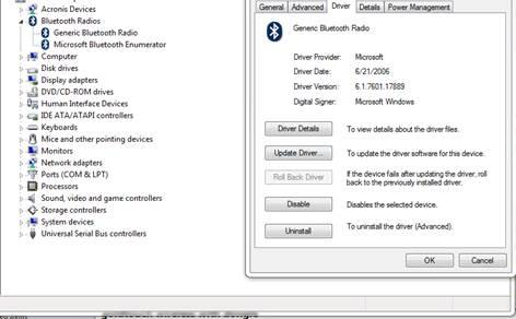 Validate current Bluetooth Radio Drivers