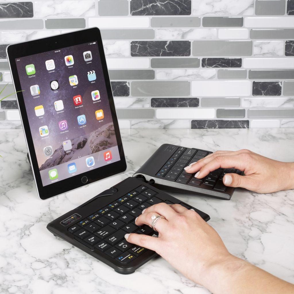 Ergonomic Keyboard, Using an ergonomic keyboard with an iPad.
