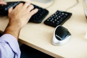 ergonomic mouse on desk